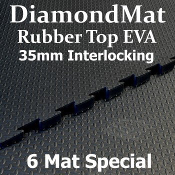 Rubber Top EVA – Interlocking – 35mm Diamond Mat – 6 Mat Special – Free Shipping