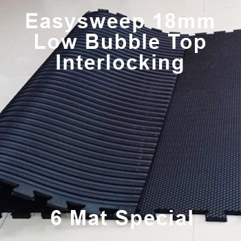 18mm EasySweep Rubber Stable Mat – Low Bubble Top Interlocking – 6 Mat Special