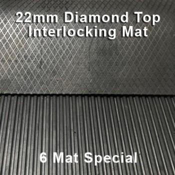 22mm Premium Solid Rubber Interlocking – Maxi Grip – Diamond Top - 6 Mat Special