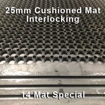 25mm Premium Solid Rubber Cushioned Mat Interlocking – Maximum Comfort – Hammer Top - 14 Mat Special