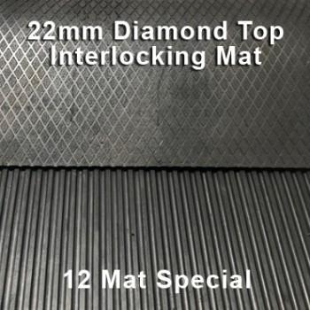 22mm Premium Solid Rubber Interlocking – Maxi Grip – Diamond Top - 12 Mat Special
