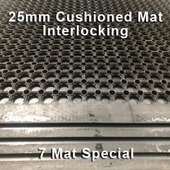 25mm Premium Solid Rubber Cushioned Mat Interlocking – Maximum Comfort – Hammer Top - 7 Mat Special