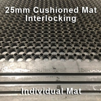 25mm Premium Solid Rubber Cushioned Mat Interlocking – Maximum Comfort – Hammer Top - Individual