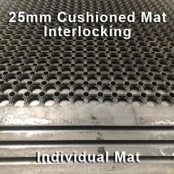 25mm Premium Solid Rubber Cushioned Mat Interlocking – Maximum Comfort – Hammer Top - Individual
