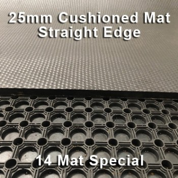 25mm Premium Solid Rubber Cushioned Mat – Maximum Comfort – Hammer Top - 14 Mat Special