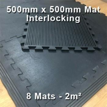 16mm Heavy Duty Rubber Mats 8pcs Interlocking