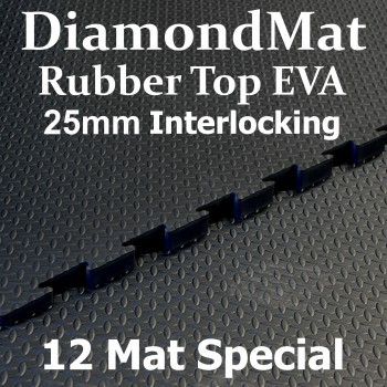 Rubber Top EVA – Interlocking – 25mm Diamond Mat – 12 Mat Special – free shipping