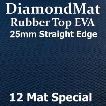 Rubber Top EVA – Straight Edge – 25mm Diamond Mat – 12 Mat Special – Free Shipping