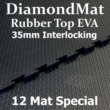 Rubber Top EVA – Interlocking – 35mm Diamond Mat – 12 Mat Special – Free Shipping