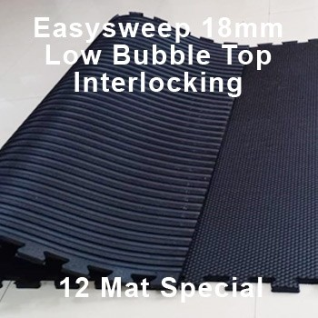 18mm EasySweep Rubber Stable Mat – Low Bubble Top Interlocking – 12 Mat Special