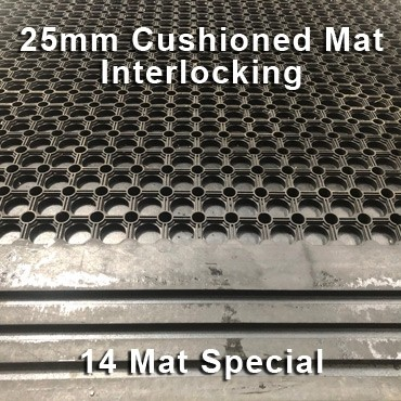25mm Premium Solid Rubber Cushioned Mat Interlocking – Maximum Comfort – Hammer Top - 14 Mat Special