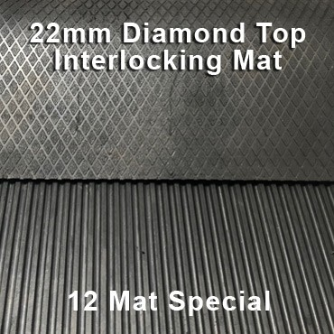22mm Premium Solid Rubber Interlocking – Maxi Grip – Diamond Top - 12 Mat Special