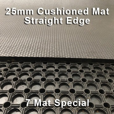25mm Premium Solid Rubber Cushioned Mat – Maximum Comfort – Hammer Top - 7 Mat Special