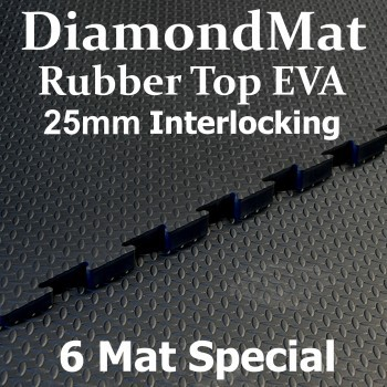 Rubber Top EVA – Interlocking – 25mm Diamond Mat – 6 Mat Special – free shipping