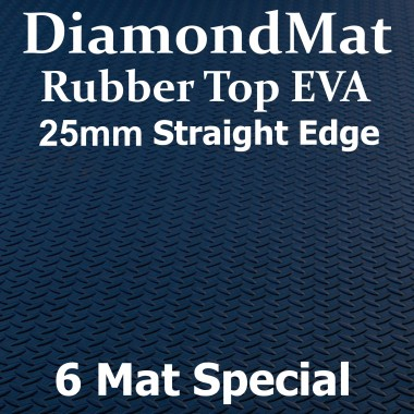 Rubber Top EVA – Straight Edge – 25mm Diamond Mat – 6 Mat Special –Free Shipping